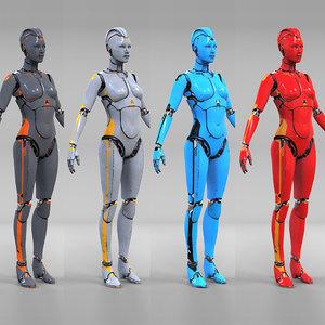 3D female cyborg robot model