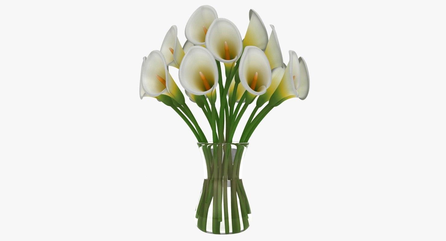 3D calla flower vase model