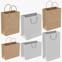 paper shopping bags string 3D model
