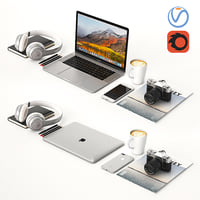 desktop macbook silver 3D model