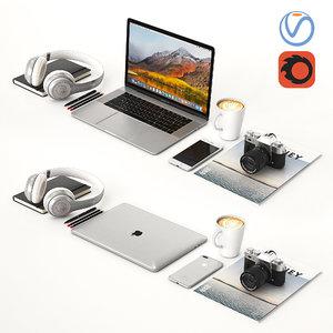 desktop macbook silver 3D model