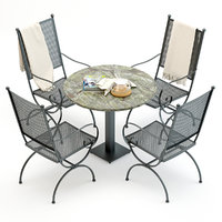 3D wrought iron chair table model