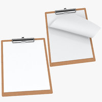 3D paper sheets clipboard