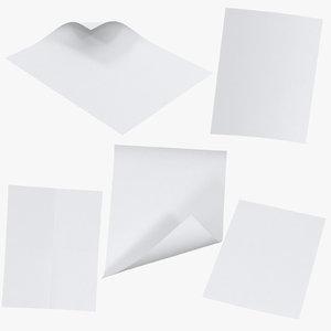 single paper sheets 3D model