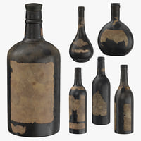 3D old bottles alcohol model