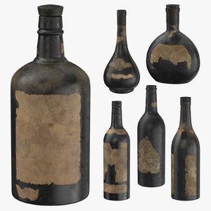 3D old bottles alcohol model