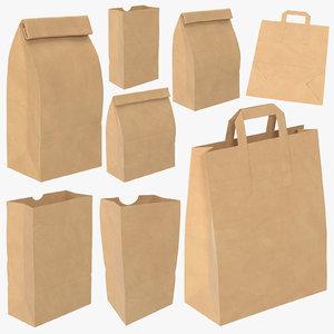 grocery bags mock mockup 3D model