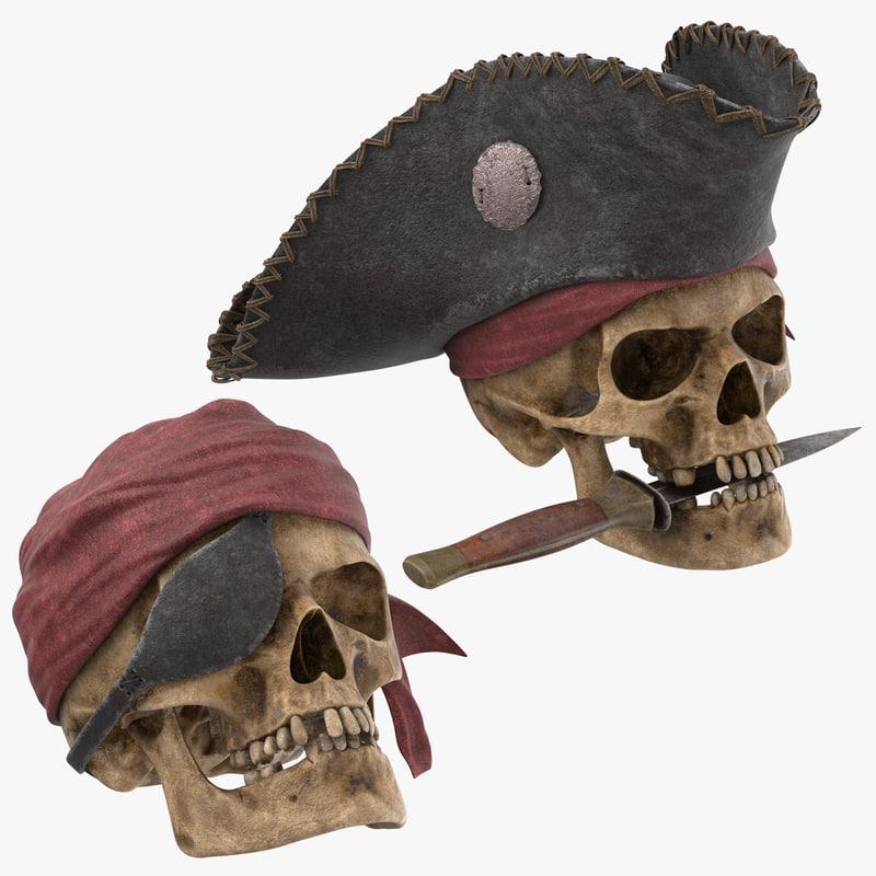 3D pirate skull model