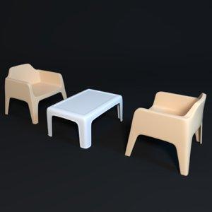 3D lawn table chair