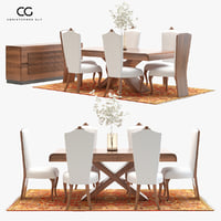 3D model classic dining set