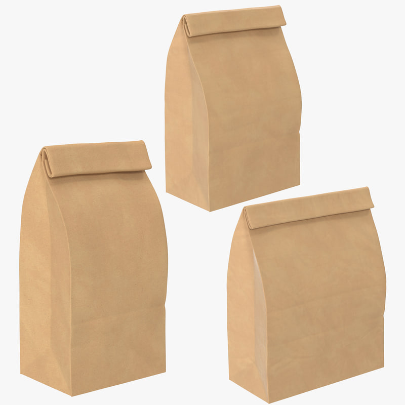 closed grocery bags mockup 3D model