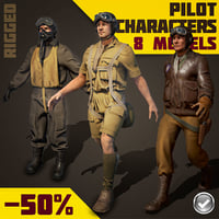Real-Time Rigged World War 2 Pilots PBR Collection