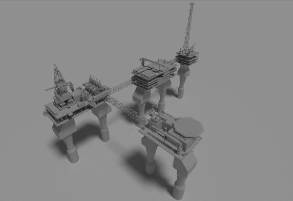 water oil platform 3D