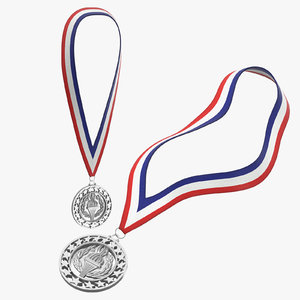 silver olympic medals 3D