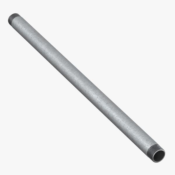 3D galvanized steel pipe 50cm model