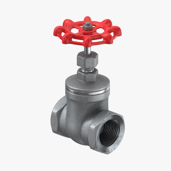 3D galvanized steel pipes valve