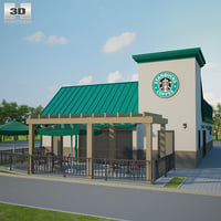 starbucks restaurant 3D