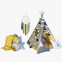3D tepee yellow model