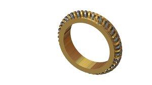 silver gold bangle 3D model