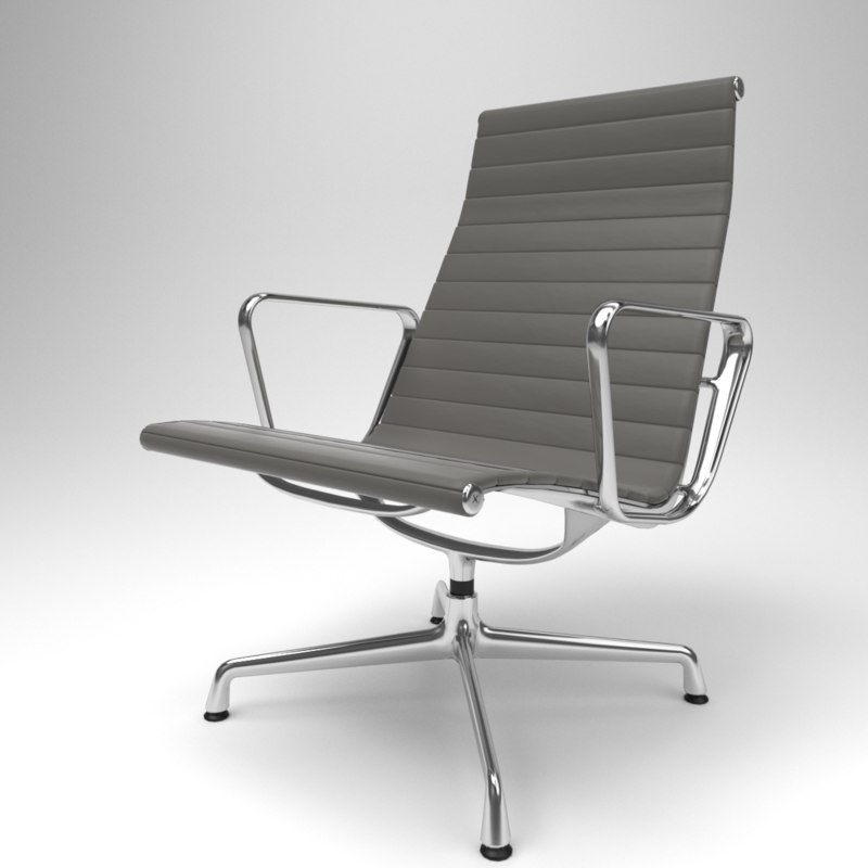 3D model interior vitra aluminium chairs