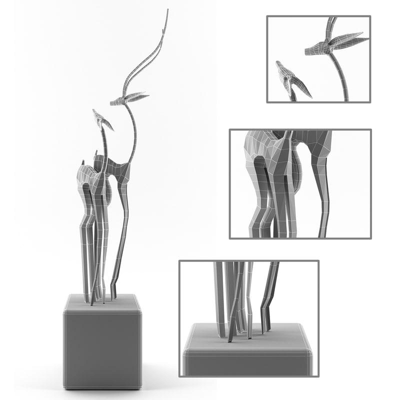 statue gazelle 3D model