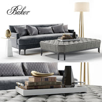bakers celestite sofa ottoman 3D model