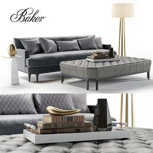 bakers celestite sofa ottoman 3D model