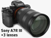 Sony Alpha 7R III with three lenses