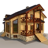 3D wooden house glued beams