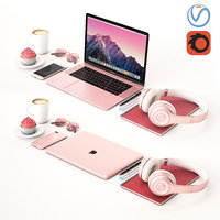 3D macbook workplace book model