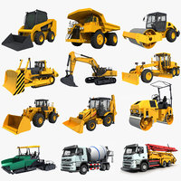 3D model excavator bulldozer
