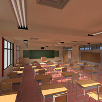 3D highschool anime classroom