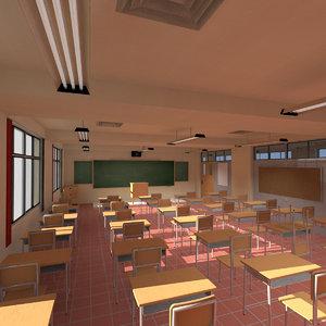 3D highschool anime classroom