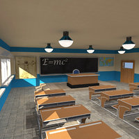 highschool classroom 3D model