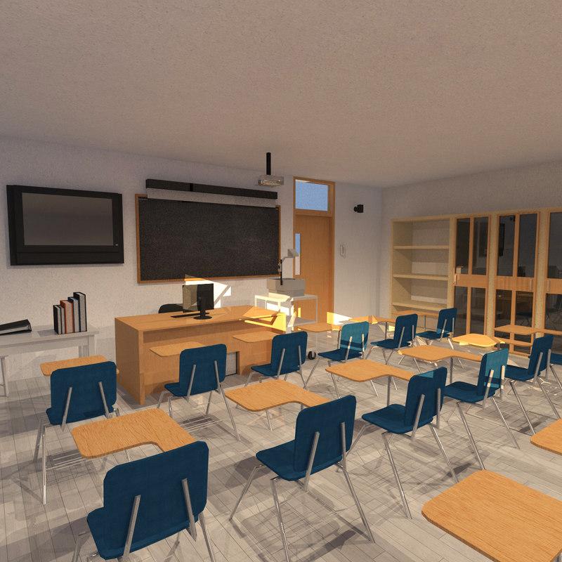 college classroom 3D