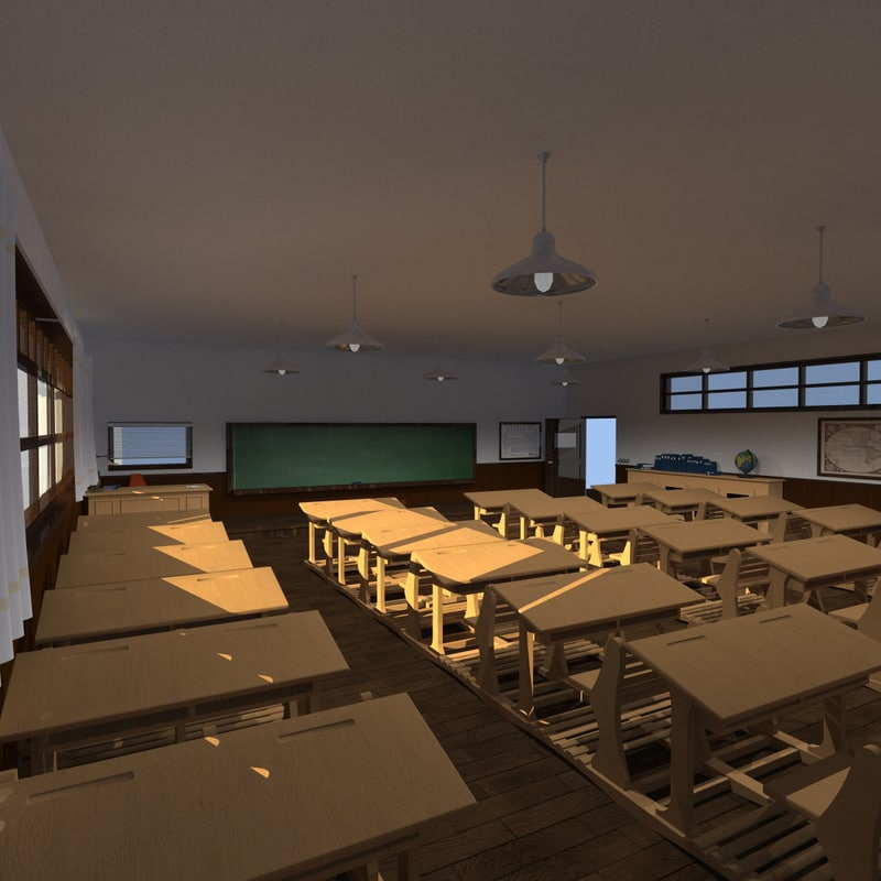3D old classroom