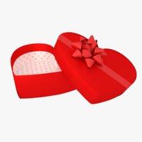 3D model gift box heart