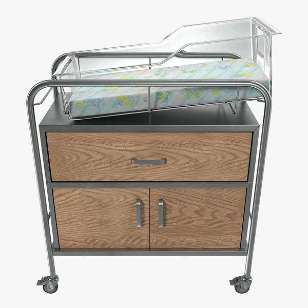 hospital bassinet carrier drawer 3D model