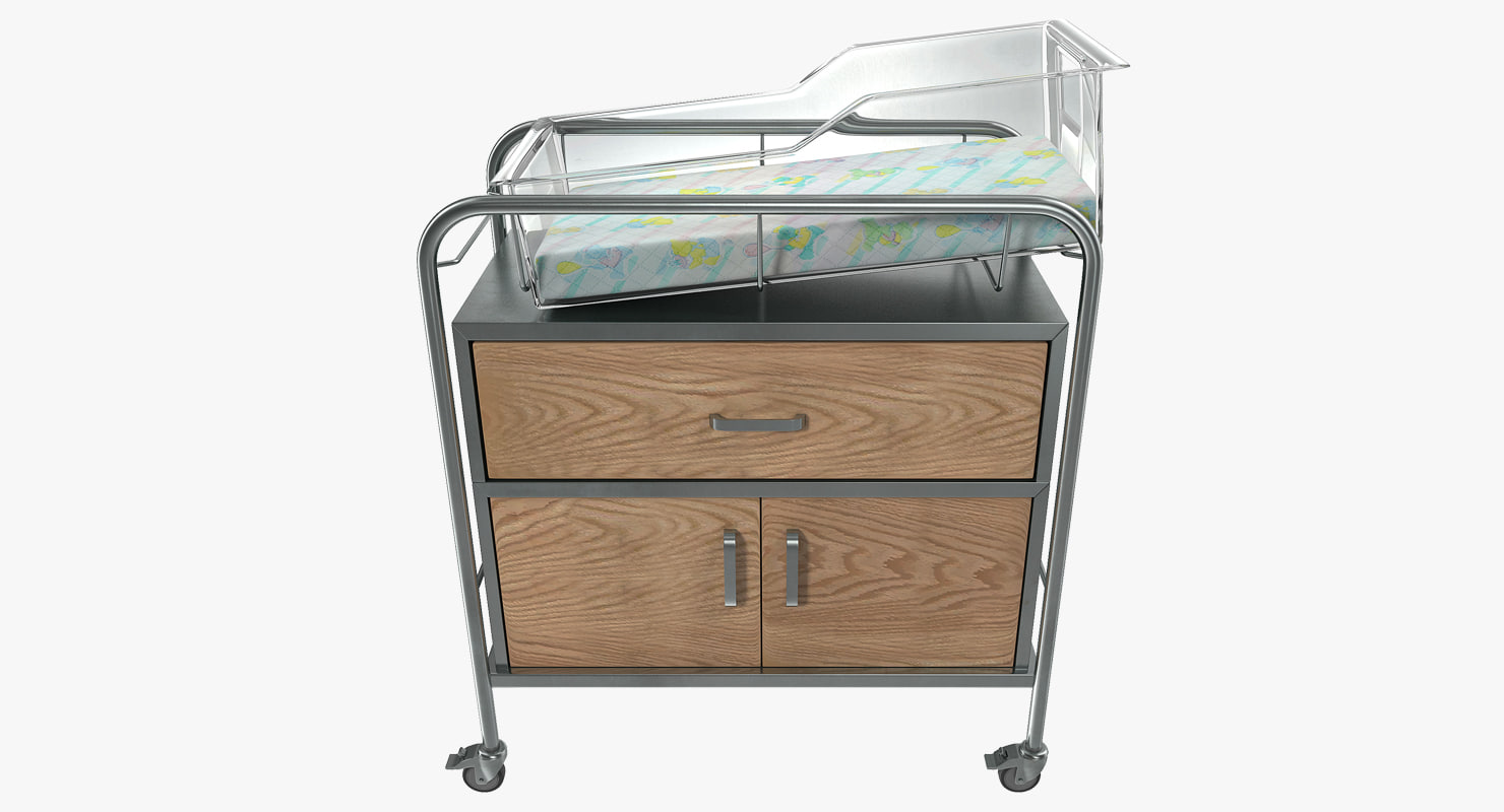 hospital bassinet carrier drawer 3D model