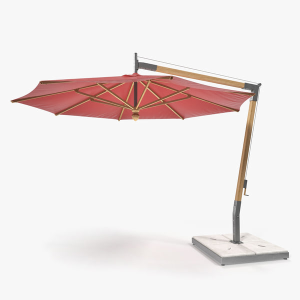 offset wooden patio umbrella 3D model