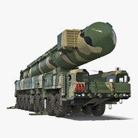 Transporter Erector Launcher with RT-2PM Topol-M Ballistic Missile Rigged 3D Model
