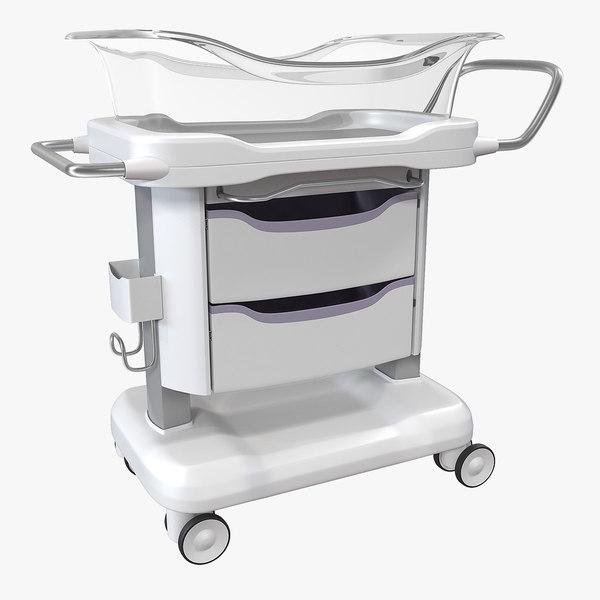 transparent hospital bassinet 3D model