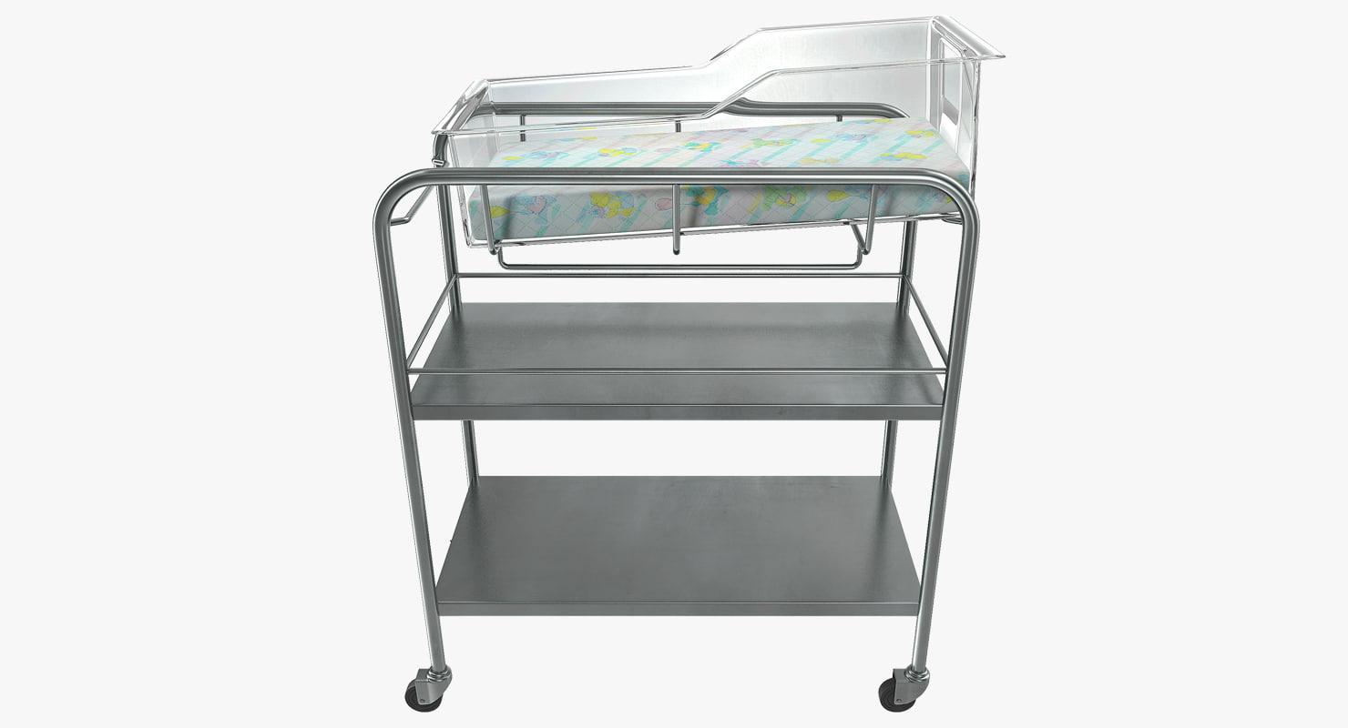 stainless steel hospital bassinet 3D model