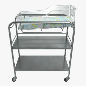 stainless steel hospital bassinet 3D model