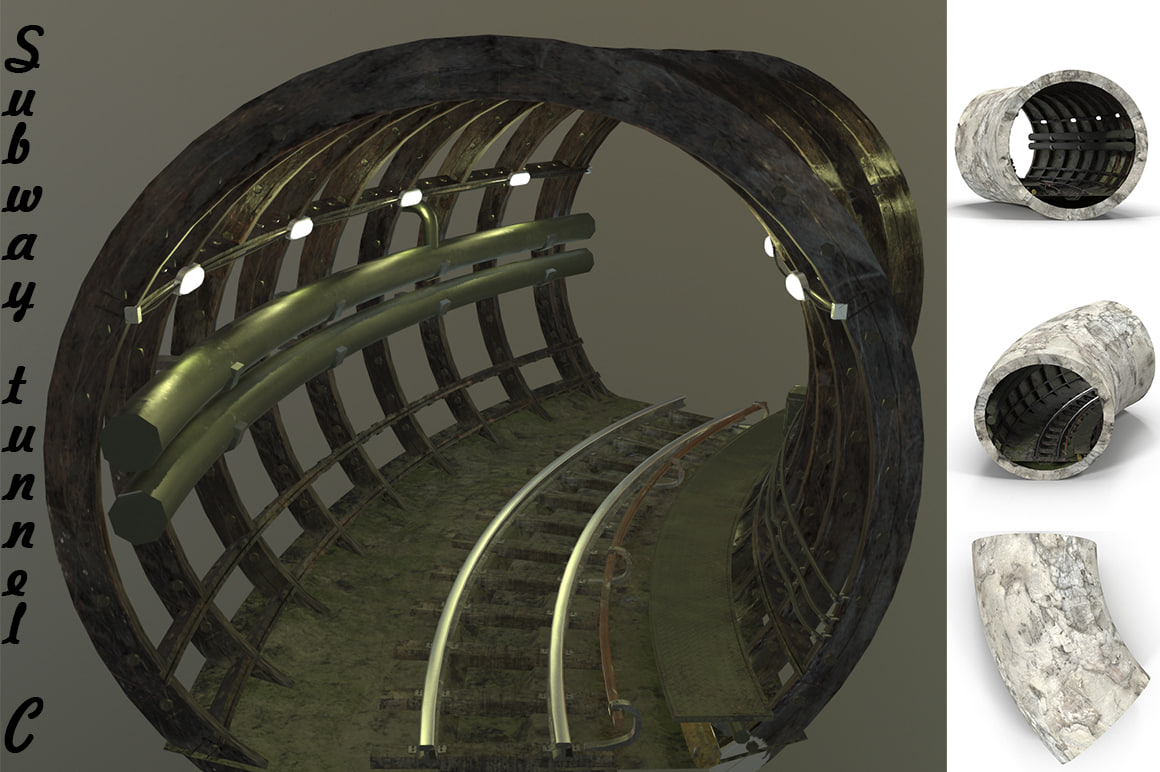 3D model subway tunnel