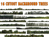 3D 16 cutout background trees model