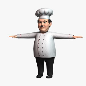3D cartoon chef character model