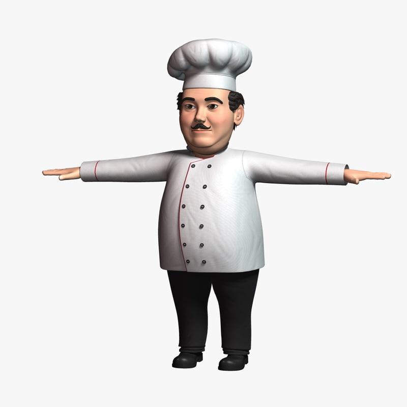 3D cartoon chef character model