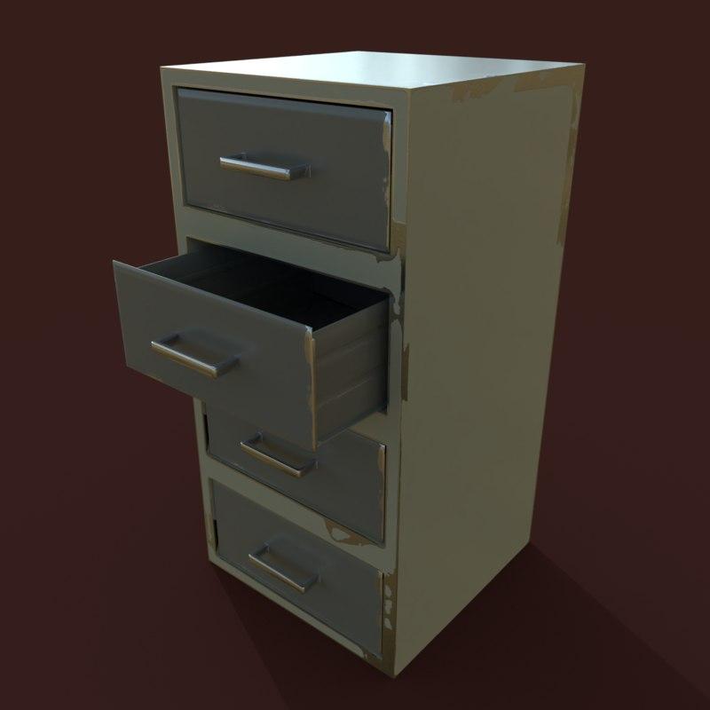 3D model metal file cabinet pbr
