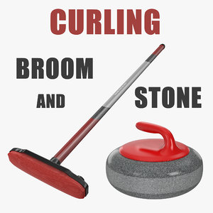 curling broom stone 3D
